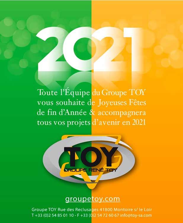 Toute l'Équipe du Groupe TOY vous souhaite de joyeuses Fêtes de fin d'année et accompagnera tous vos projets d'avenir en 2021